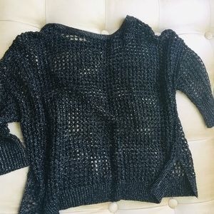 EXPRÉSS METALLIC BLACK KNIT SWEATER SZ S